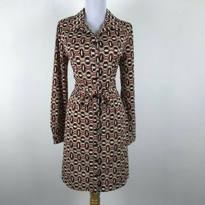 Red Black Beige Geometric Long Sleeve Career Dress
